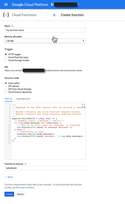 Create and edit a cloud function on Google Cloud Platform