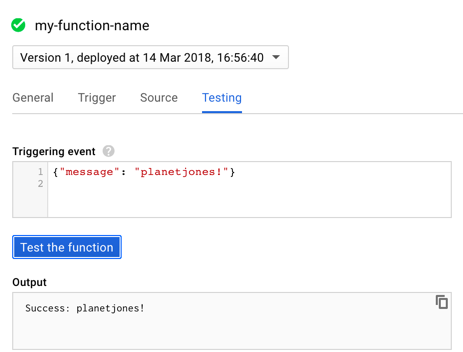GCP test console for Cloud Functions