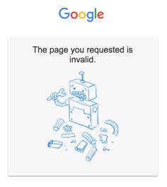 Google invalid page