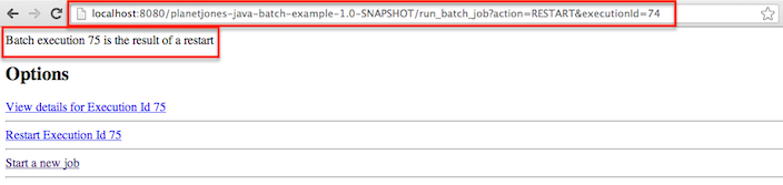 View java batch job after restart