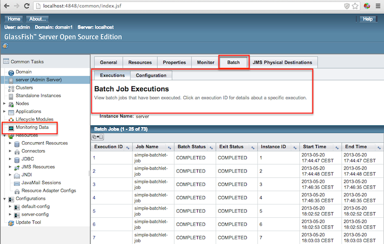 Glassfish 4 batch admin console